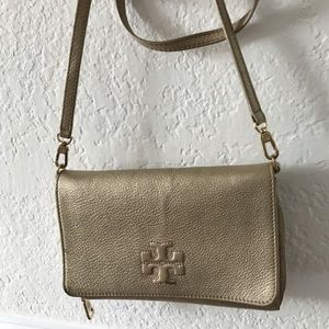 Authentic Tory Burch Gold Leather Crossbody
